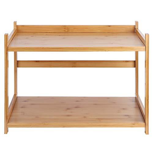 Estante de cocina de bambú multifuncional, estante de cocina de 2 capas, estante para horno microondas, soporte para almacenamiento de condimentos, organizador de cocina