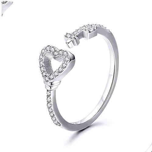 JIARU Anillo de plata de ley 925 para mujer, anillo ajustable, anillo simple y chapado en platino, anillos en forma de corazón para niña