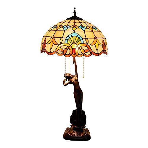 Vintage Creatividad Manual 40 Cm Tiffany Vidrio Pintura Mesa Lámpara De Mesa Barroca Lámpara Sala De Estar Lámpara Comedor Dormitorio
