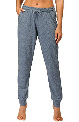 icyzone Femme Décontracté Pantalon de Sport - Taille Élastique de Décontracté athlétique Style survêtement avec Poche (Medium, Bleu océan)