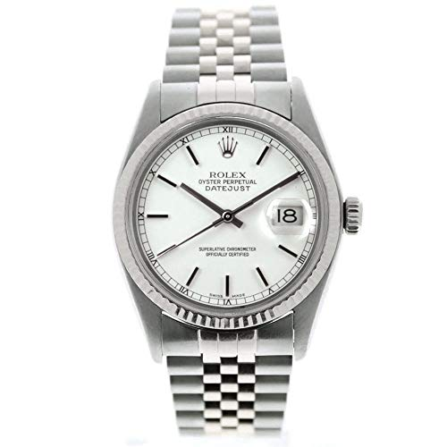 Rolex-Mens-Datejust-16014-36mm-Watch-White-Stick-Dial-18k-Gold-Fluted-Bezel-Certified-Preowned