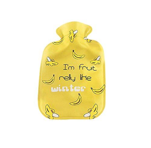 JUNGEN 1 PCS Bouillotte en Caoutchouc Chauffe Sac d'eau Chaude - Mains Bouilloire en PVC 21.5 * 14.5cm en Form de Banane Jaune