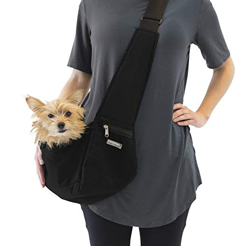 Cloak & Dawggie Dog Sling Carrier Tiny XXS Extra Extra Small Dogs, Puppy Toy Teacup Wearable Adjustable Pet Cross Body Shoulder Bag Waterproof Nylon Travel My Canine Kids (8722) (4-8 lbs, Black)