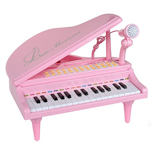 Mallya Piano Toy Keyboard for Kids Birthday Gift Pink Music Instruments with Microphone 31 Keys