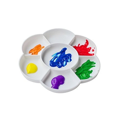 Wady Plastic Flower Shape Paint Plate Tray Mixing Palette - White (Pack of 2)