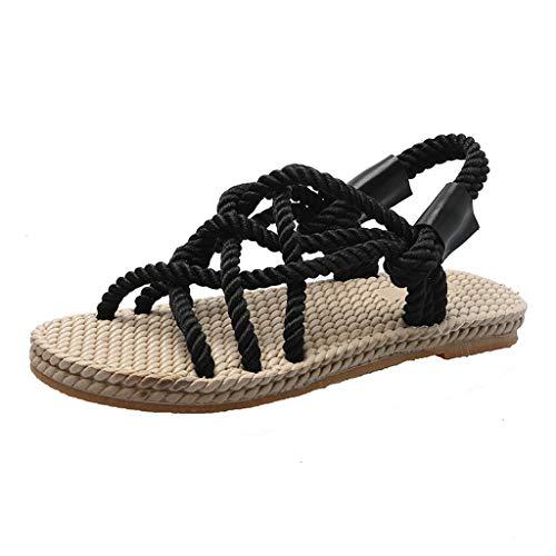 WWricotta Women's Summer Casual Fashion Straps Roman Style Round Head Beach Shoes(Schwarz,37)