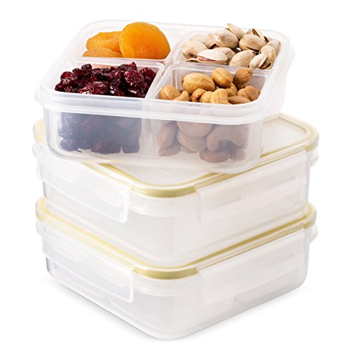 Komax Biokips Set-of-3 Snack Container With Compartments | 4 Compartment Food Containers with Lids | External Leakproof Snack Containers | BPA-Free & Dishwasher Safe