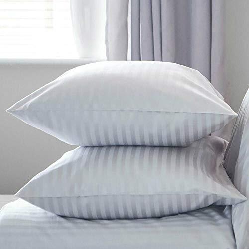 ELAFY Fundas de almohada de satén a rayas, hipoalergénicas y transpirables, con cremallera, 2 fundas de almohada blancas hipoalergénicas