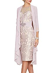 Blush Lace Dress With Rhinestone Belt & Chiffon Jacket