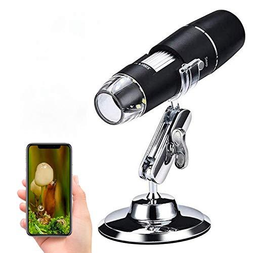 WiFi mikroskop,XVZ 50X bis 1000x Digital Mikroskoplupe, Mini-Taschen-Handmikroskopkamera mit Lichtkompatibel für iPhone Android, iPad
