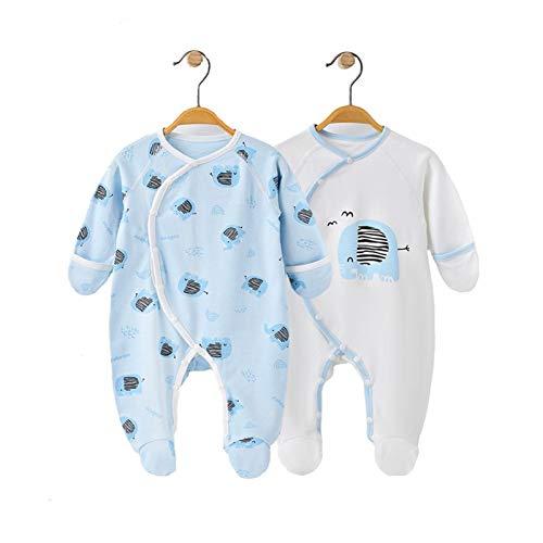 Youpin 100% algodón recién nacido, ropa de 0 a 6 meses, pijama con pies para bebé con puños y manoplas, pijama unisex rosa (color: azul, talla de niño: 0 a 3 meses)