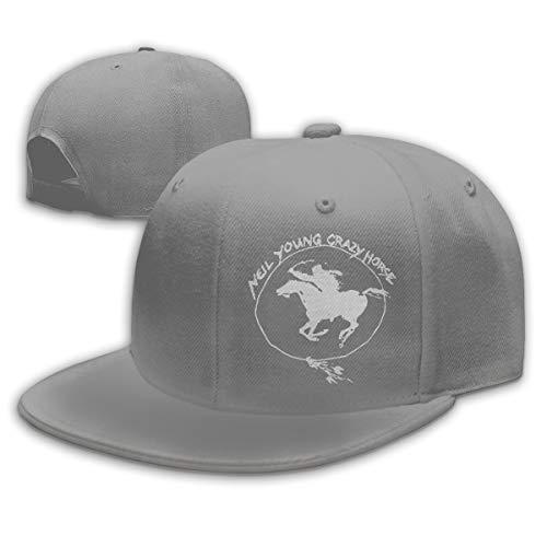 Womens Mens Neil Young Crazy Horse Logo Gray Snapback Baseball Hat Cap Snapback Dad Hats for Women Men