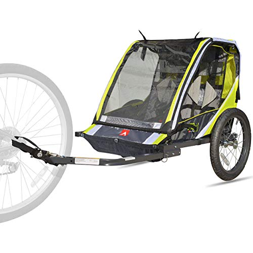 Safely and Comfortably transports up to 2 Children with Deluxe 2-Child Bike Trailer - Green