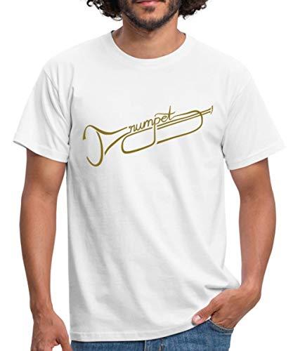 The Trumpet Trompete Männer T-Shirt, M, Weiß