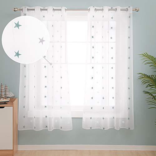 Deconovo Stores Gardinen Vorhang Transparent Ösen Vorhänge Kinderzimmer Dekosachals Leinenoptik 180x140 cm Stern Blaugrün