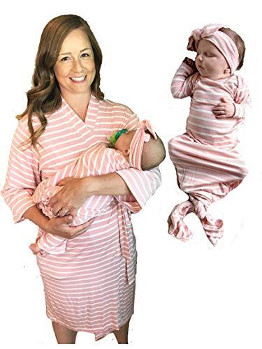 Aspen Lane Schwangerschaftskleidung, 3-teilig, passender Morgenmantel mit Knoten (Bademantel, Babykleid, Stirnband oder Mütze), Krankenhaustasche - Mehrfarbig - Large/X-Large
