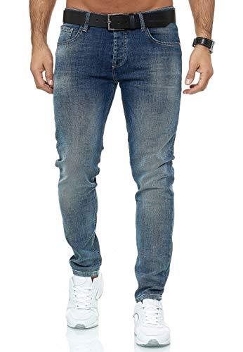 Vaqueros para Hombre Jeans Denim Pantalón Amplia Gama de Tamaños Stonewashed Arena B Azul W31 L32