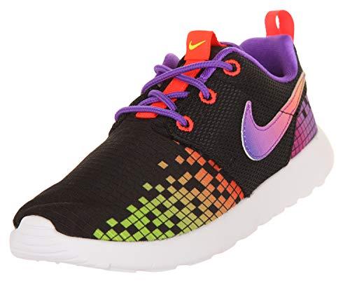 Nike Mädchen Roshe One Print (PS) Fitnessschuhe, Schwarz Weiß Lila Grün Schwarz Weiß Hyperviolett Volt, 34 EU