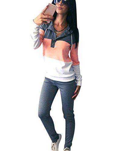 Chandal Mujer Mujeres Chándales con Capucha Conjunto Chandal Chándal Señora Conjuntos Deportivos de Manga Larga Pantalones Sudadera Sudaderas Deportivas Deportistas Chicas Moderno Gris L