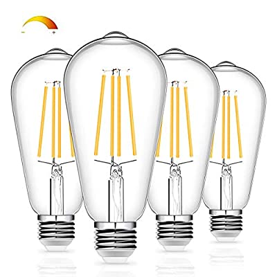 Vintage Dimmable LED Edison Light Bulb 100W Equivalent, 90+ CRI, 1200 LM, ST64/ST21 LED Filament Light Bulbs with Warm White 2700K for Home Reading Room Bathroom, E26 Base, Pack of 4