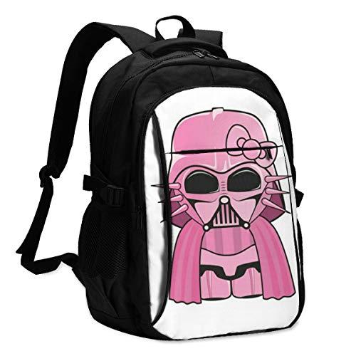 Star War Darth Vader Anime Hello Kitty USB Rucksack Reise Laptop Rucksack Unisex Leicht mit USB-Ladeanschluss Rucksack 43,2 cm