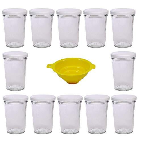 Viva Haushaltswaren Lot de 12 gobelets à Confiture avec Couvercle Blanc 150 ML + Entonnoir Jaune