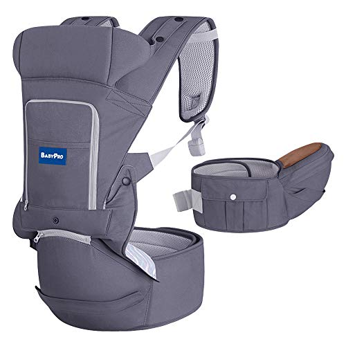 BabyPro 360 Ergonomic Baby Carrier with Hip Seat , 6 in 1 Baby Carrier with Waist Stool, One Size Fits All , Adjustable to Newborns Infants Toddlers, Hands Free Baby Wrap Front Backpack (Dark Grey)