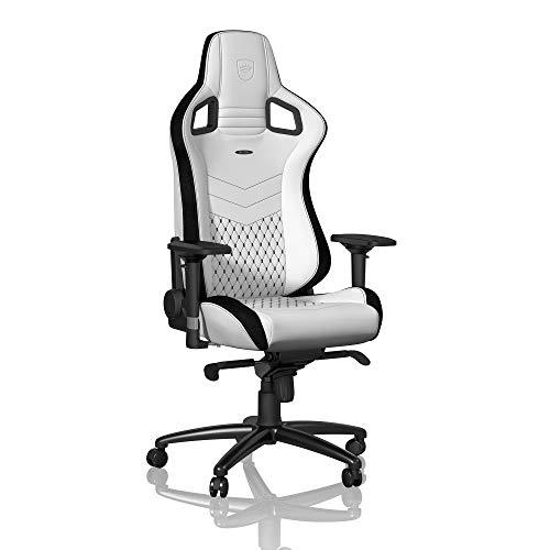 noblechairs Epic Gaming Stuhl - Bürostuhl - Schreibtischstuhl - PU-Kunstleder - Inklusive Kissen - Weiß/Schwarz