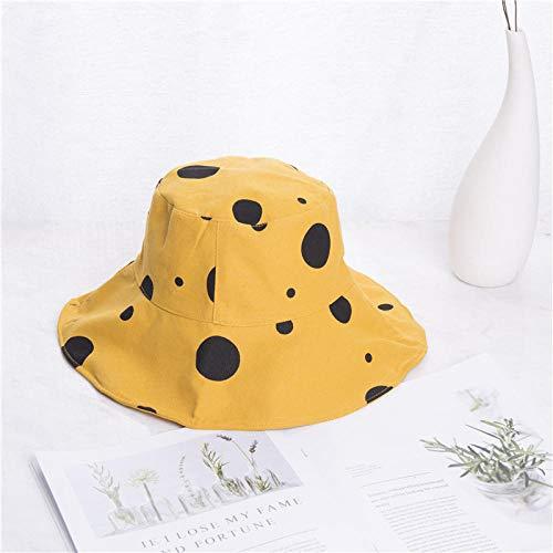 Sombrero Pescador Gorras Hombre Mujer Sombrero para El Sol Sombrero De Cubo Plegable para Mujer Sombrero De Playa con Estampado De Puntos De ala Grande Amarillo Negro Caqui Beige-Amarillo