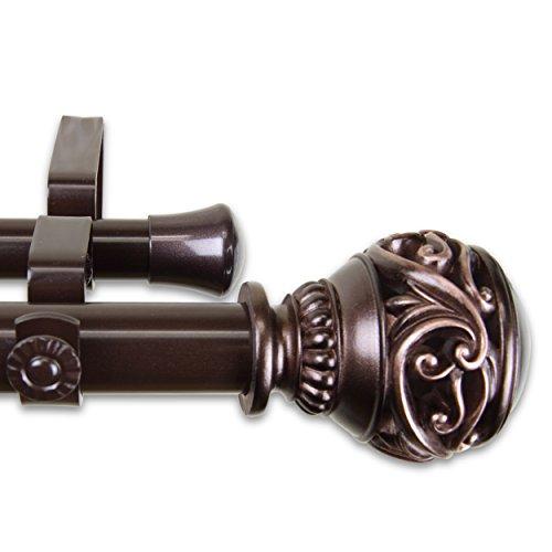 """A&F Rod Décor - Leesha 1"""" Double Curtain Rod 120-170 inch - Bronze"""