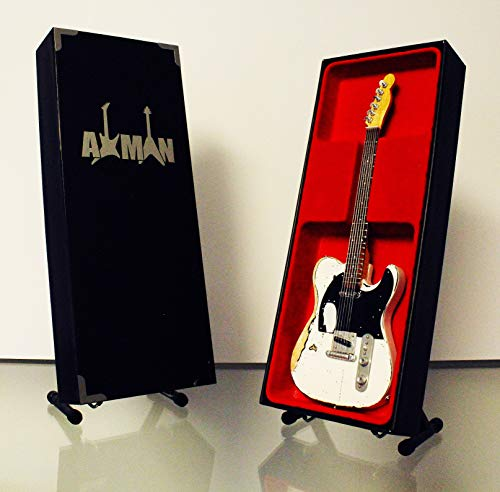Miniaturgitarrennachbildung Rick Parfitt, abgenutzter Look, weiß–Mini-Modell, Rock-Kuriositäten, Nachbildung, Miniatur-Gitarre aus Holz