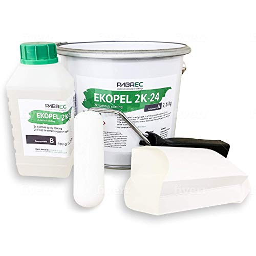 Ekopel 2K Bathtub Refinishing Kit -Includes Foam Roller/Scoop - Odorless DIY Sink/Tub Reglazing Kit - 20X Thicker Than Other Tub Kits- No Peel Pour On Tub Coating - Bright Gloss Tub Coating (White)