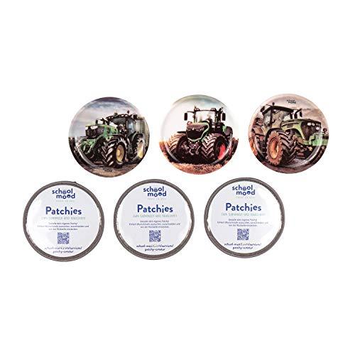 SCHOOL-MOOD Patchy-Set - 6-teilig - Klett-Patchies für Schulranzen und Zubehör (Traktor)