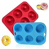 DMFSHI Stampo per Ciambelle, Stampo Cupcake, 1 Teglia da Forno per Ciambelle a 6 cavità e 1 Teglia da Forno per Cupcake a 6 cavità, per Torte, Biscotti, Bagel, Muffin (Rosso, Blu)