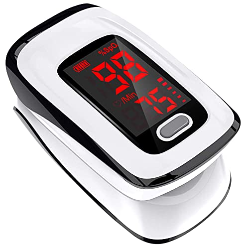Pulse Oximeter Fingertip, Blood Oxygen Saturation Monitor, Heart Rate Monitor and SpO2 Levels,...