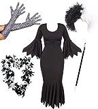 I LOVE FANCY DRESS LTD Disfraz para Adultos, diseño de Cruella de Vil, Incluye Vestido Negro Largo, Peluca, Guantes Largos, Boa de Plumas y Boquilla Ideal para Fiestas de Halloween (X-Large)