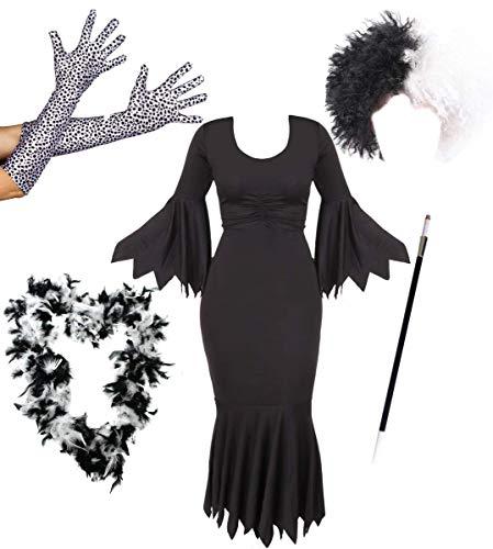 Déguisement de la femme cruelle envers les Dalmatiens avec une robe noire + une perruque + paire de longs gants + boa + un fume cigarette pour adulte. Ideal pour les fêtes d'Halloween. ( Large )