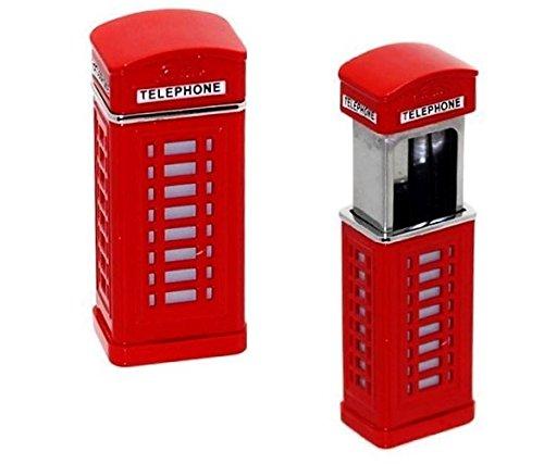 Taschenaschenbecher mit Deckel dicht, Luftdicht - London Telefonzelle in Rot - Cooles Design - Londoner Telephone Box - Stylischer Alltagsbegleiter (1 Taschenaschenbecher)