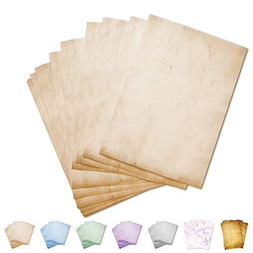 Partycards Carta da Lettere Vintage | Design retrò | 50 Foglia| Beige|Formato DIN A4 (21,0 x 29,7 cm) | Grammatura A4 90 g/m² | Fronte-Retro Stampato, Adatto a Tutte Le stampanti