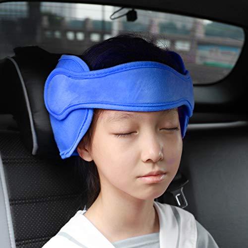 FREESOO Fascia Testa Seggiolino Auto, Supporto Testa Auto Bambini Regolabile Poggiatesta Auto Bambini Confortevole per Dormire Sicurezza Auto Blu
