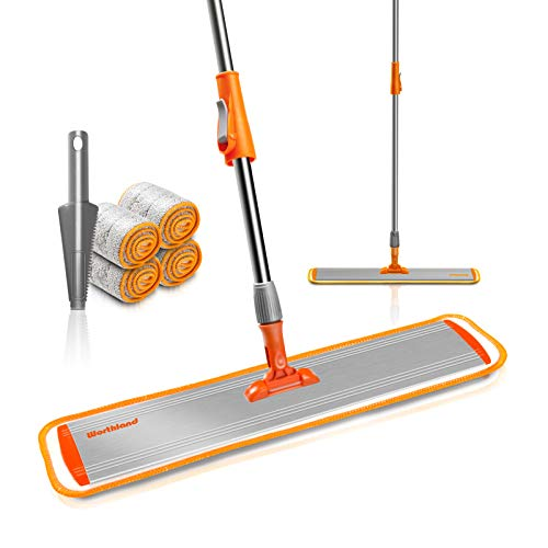 Worthland 24inch Microfiber Flat Mop for Floor Cleaning, Adjustable...