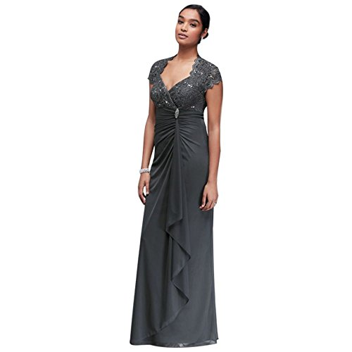 Gathered Jersey Mother of Bride/Groom Dress with Scalloped Lace Bodice Style A18436, Gunmetal, 14