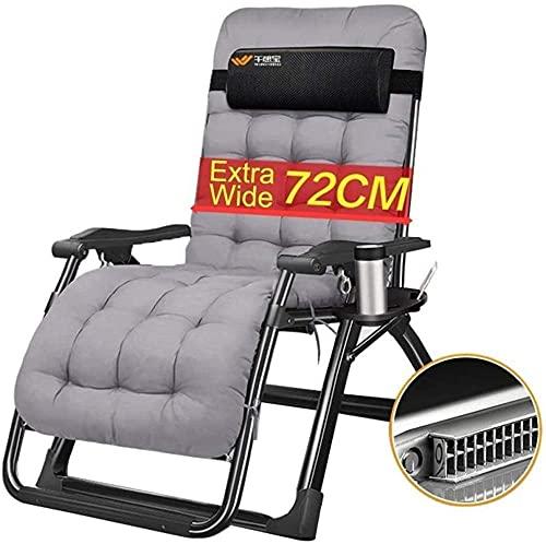XiangRuiDa Sunlounger Classic - Tumbona/tumbona extra ancha para patio, tumbona, reclinable plegable y ajustable con cojines reclinable para oficina al aire libre, color gris