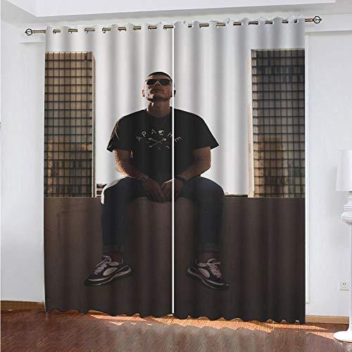 DRFQSK Cortinas Opacas Térmicas Aislantes para Salon Cortinas con Ojales para Dormitorio Impresión 3D Patrón De Moda para Hombres Cortinas para Ventanas 2 Piezas 140 X 160 Cm(An X Al)