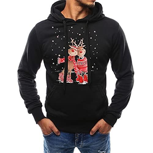 ffshop Sudadera navideña Sudadera con Capucha de suéter de Navidad para Hombre Divertido Tachado de Navidad Reno Rudolph Elf Pullover Tops Suéter de Navidad (Color : Black, Size : XL)