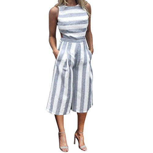 VEMOW Sommer Playsuit Elegante Damen Frauen Sleeveless Blau Streifen Jumpsuit Lässig Täglichen Party Beach Clubwear Breite Beinhosen Outfit Overalls (Blau, 42 DE/XL CN)