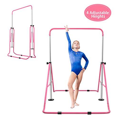 BEEYEO Gymnastics Bar for Kids, Expandable Gym Jr Premium Horizontal Gymnastic Folding Kip Bar Junior Training for Gymnast Beginner Home Training Adjustable Height (Pink)