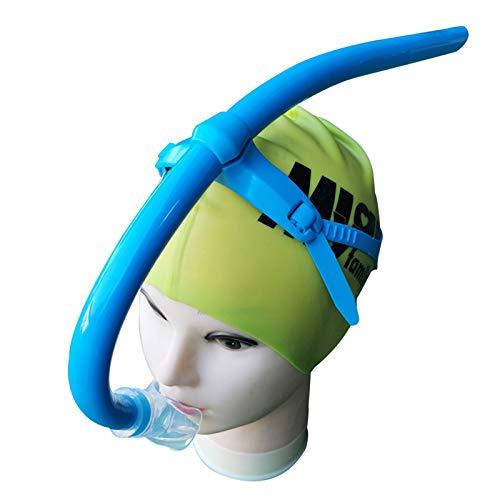 Snorkel de natación para natación de regazo, nadadores adultos, equipo de buceo para entrenamiento de buceo en piscina y aguas abiertas, montaje central, boquilla de silicona cómoda de purga