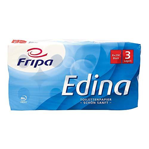 fripa Toilettenpapier 3-lagig, WC Papier Edina: 8 x 250 Blatt, 100% Zellstoff, weiß, 8 Stück
