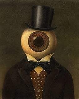 Victorian Eyeball Man Portrait - Steampunk - Science Fiction Portrait - Creepy Art - Spooky - Twilight Zone - Outer Limits - Transparent Eye